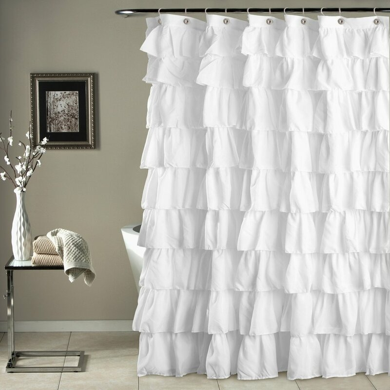 House Of Hampton Galion Ruffled Semi Sheer Single Shower Curtain Reviews Wayfair