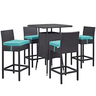 Latitude Run Ryele 5 Piece Bar Height Dining Set with Cushions