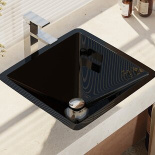 Deals Glass Square Vessel Bathroom Sink with Faucet ByRené By Elkay