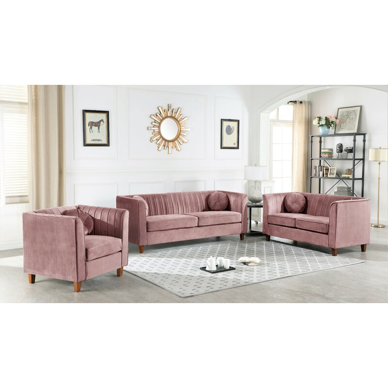 Brennon Chesterfield 3 Piece Living Room Set