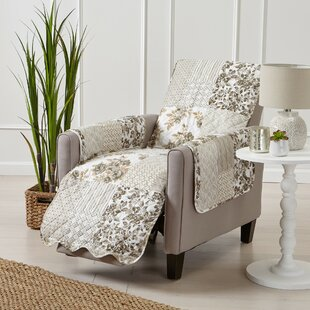 Patchwork Scalloped Printed Box Cushion Recliner Slipcover