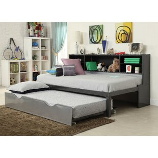 Surface Metal Twin Bed with Bookcase and Rollout Trundle