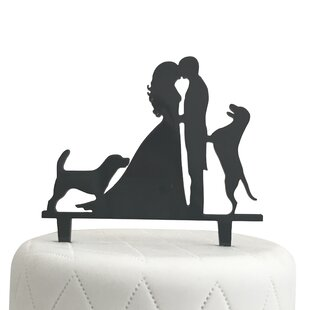 Wedding cake toppers youll love wayfair bride groom and two dogs silhouette acrylic cake topper junglespirit Images