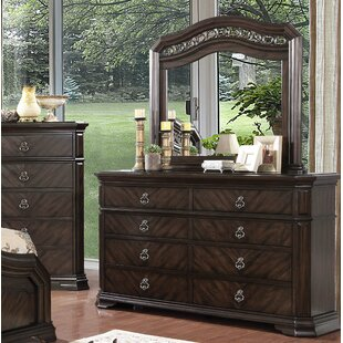 Rudisill 8 Drawer Double Dresser with Mirror