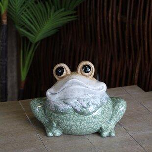 Claudio Squatting Ceramic Frog Statue By Happy Larry
