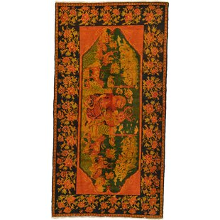 One-of-a-Kind Gasconade Hand-Knotted 4'5 x 8'5 Wool Orange/Green Area Rug Isabelline