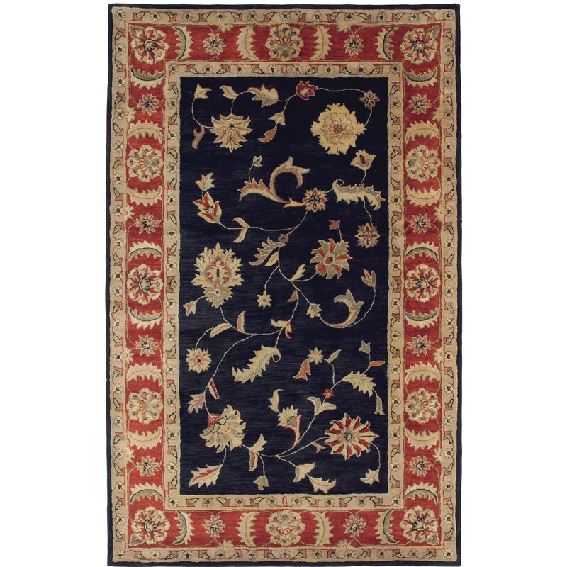 Darby Home Co Ashtown Oriental Hand Tufted Wool Black Red Area Rug Wayfair