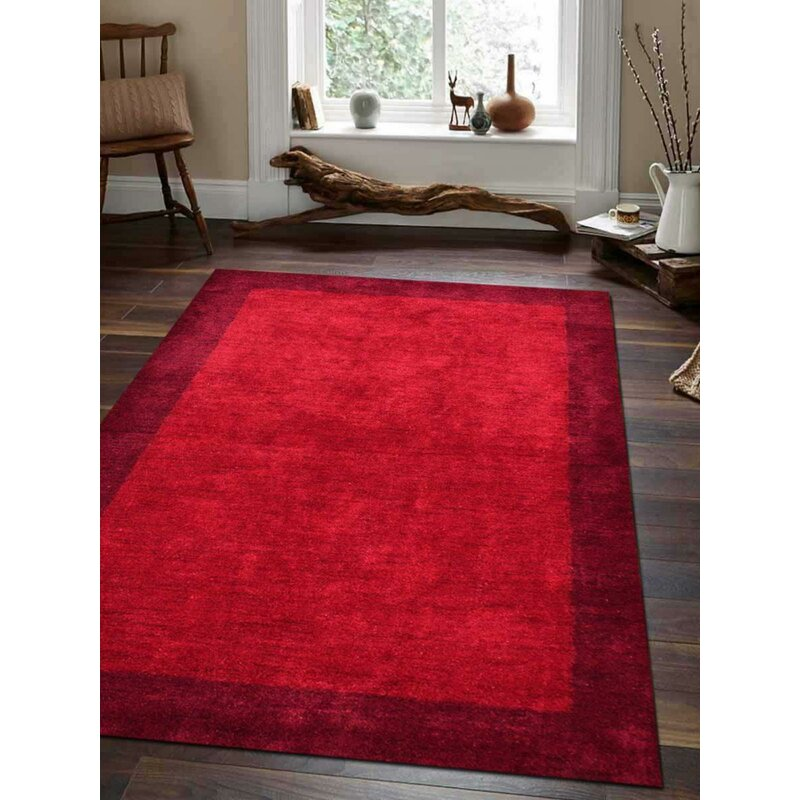 Latitude Run Aaella Handmade Hand Knotted 8 X 10 Silk Red Area Rug Wayfair