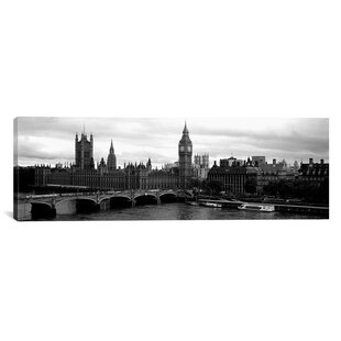 Black And White Landscape Large Poster /& Canvas Pictures London Big Ben River