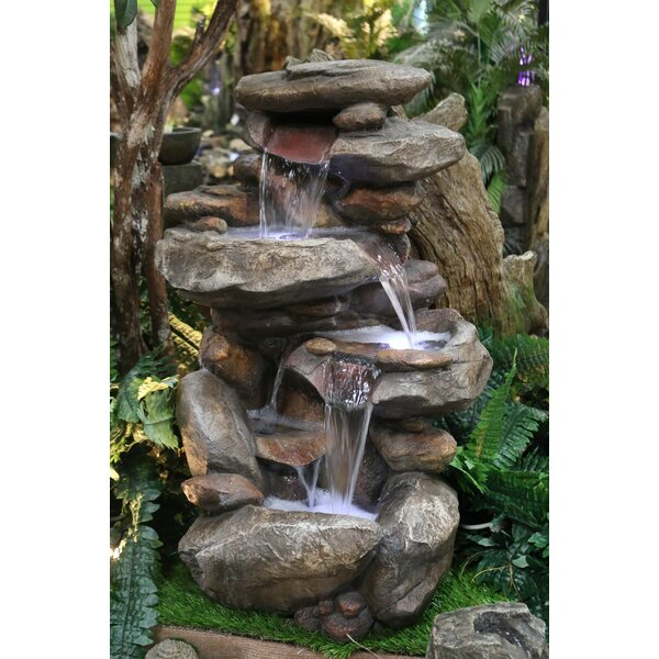 Fiberglass Rock Fountain with Light