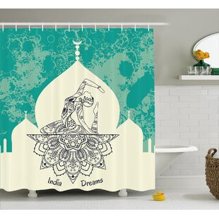 Vauxhall Chakra Grungy Vintage Image With Dancing Lady Generated With Angled Ethnic Print Single Shower Curtain