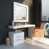 Mabton Vanity Set with Stool and Mirror by Everly Quinn