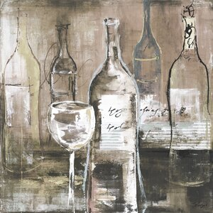 'Wine Cellar II Gray' by Bridges Painting Print on Wrapped Canvas