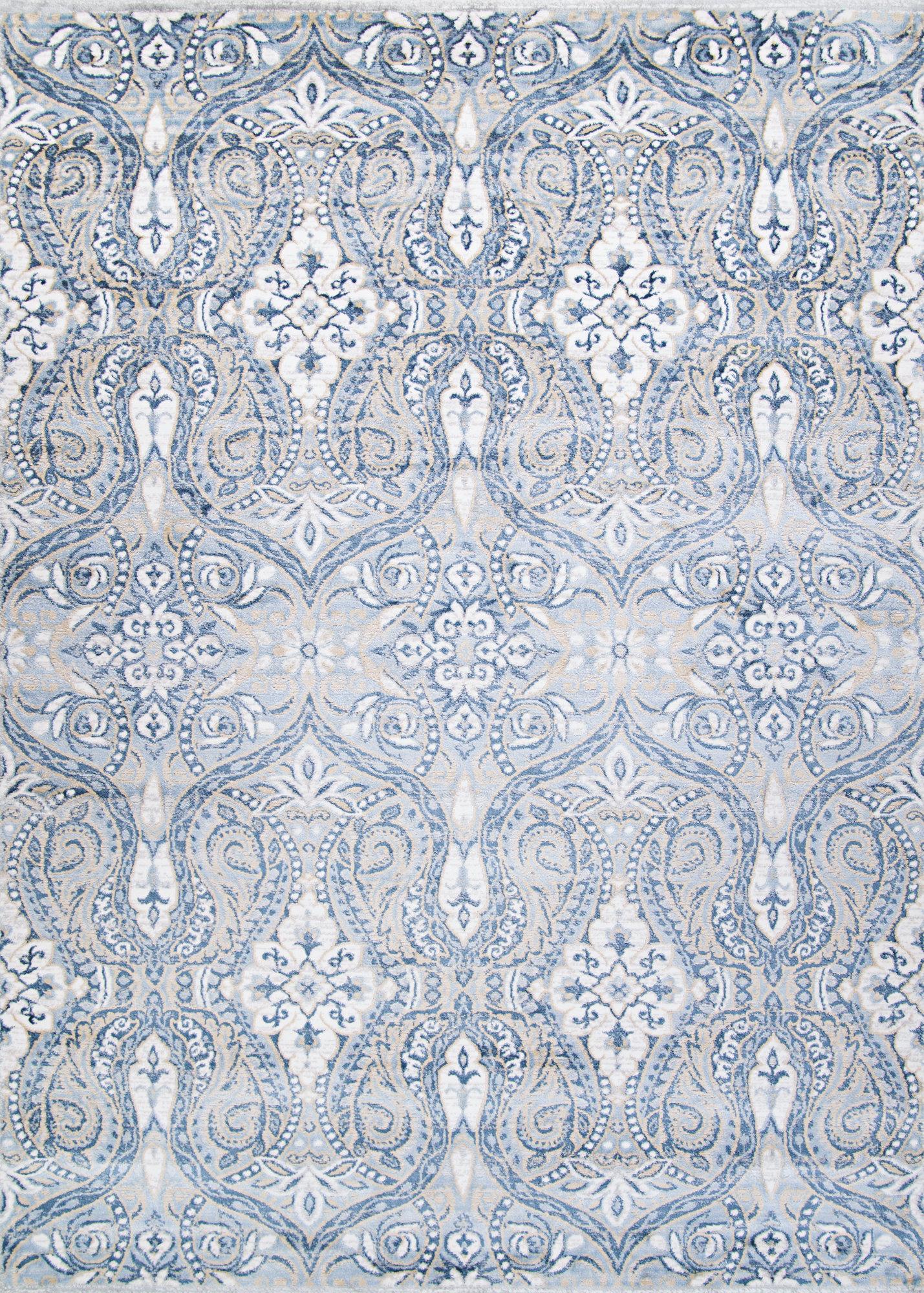 Charlton Home Karmane Floral White Blue Area Rug Wayfair