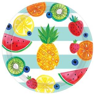 Luau Hello Summer Round Paper Dinner Plate (Set of 8)