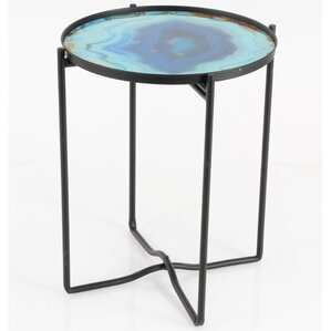 Cirillo Sturdy Iron Glass End Table by Varick Gallery