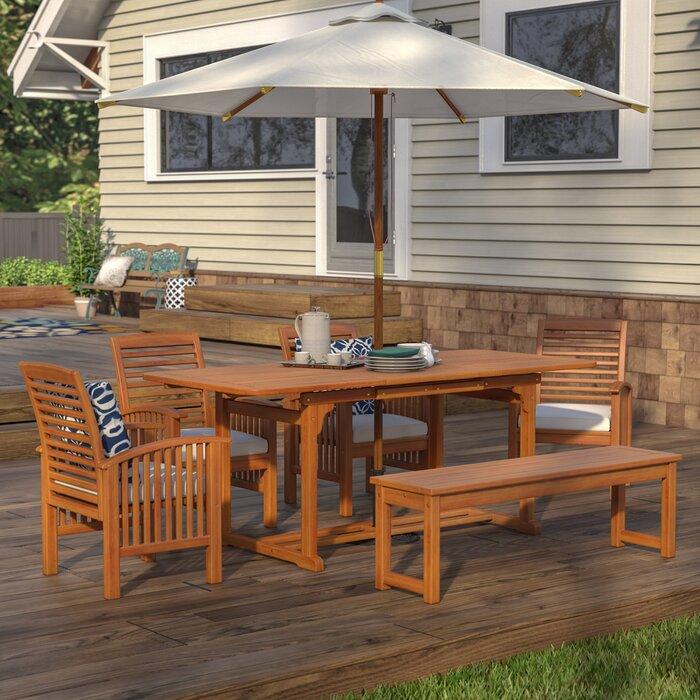 Birch Lane Heritage Tim 6-Piece Dining Set with Cushions (Brown)