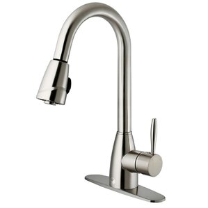 VIGO Graham Single Handle Pull-Down Spray Kitchen Faucet with Deck Plate