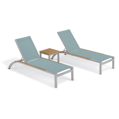 Brayden Studio Saint-Pierre 3 Piece Reclining Chaise Lounge with Table Color: Slate