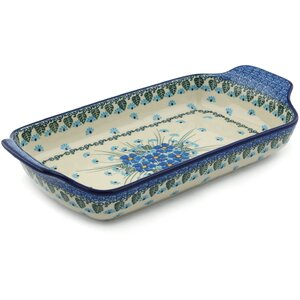 Forget Me Not Rectangular Non-Stick Polish Pottery Baker