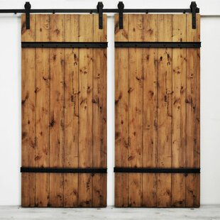 Youmans Flush Wood Finish Barn Door without Installation Hardware Kit