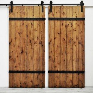 Youmans Flush Wood Finish Barn Door without Installation Hardware Kit