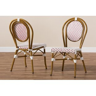 Marcantel Bamboo Stacking Patio Dining Chair (Set of 2) by World Menagerie