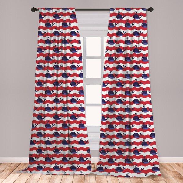 Coral Navy Curtains Wayfair