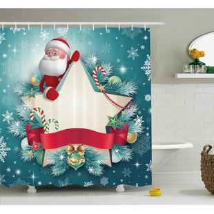 Christmas Santa Star Snowflake Shower Curtain + Hooks