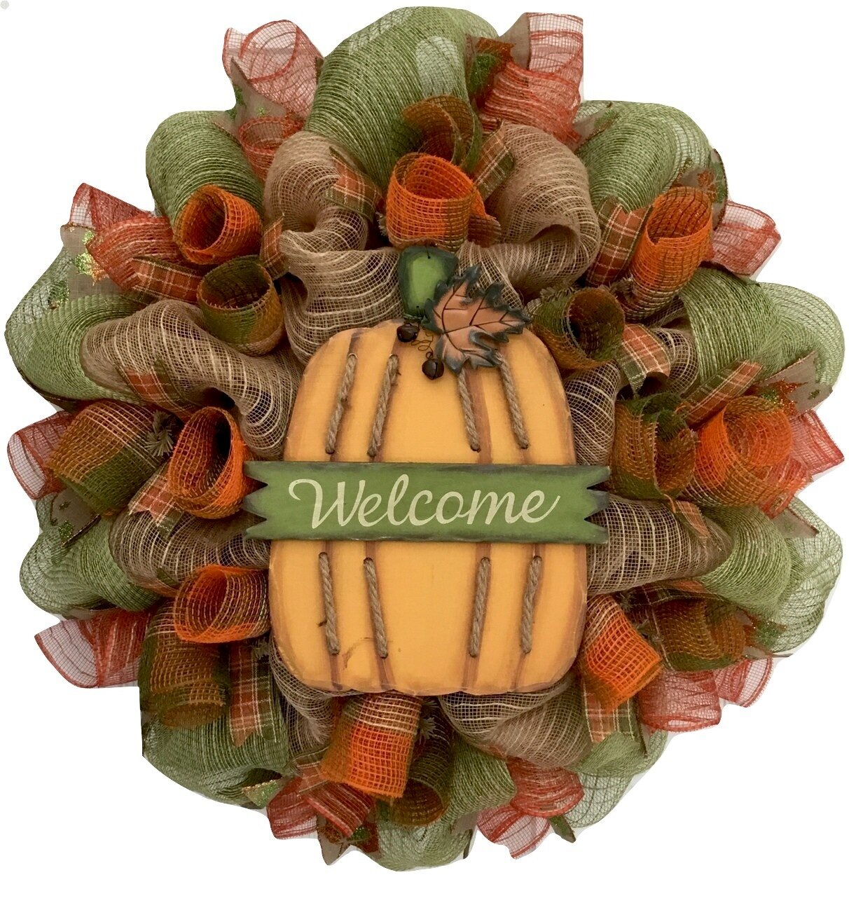 The Holiday Aisle Burlap Welcome Pumpkin Autumn 24 Deco Mesh Wreath Wayfair