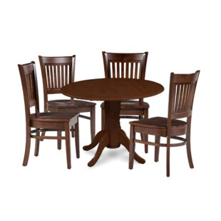 Miriam 5 Piece Drop Leaf Solid Wood Dining Set Breakwater Bay
