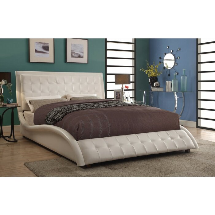 . Crosbie Contemporary Styled Soothing Queen Upholstered Sleigh Bed