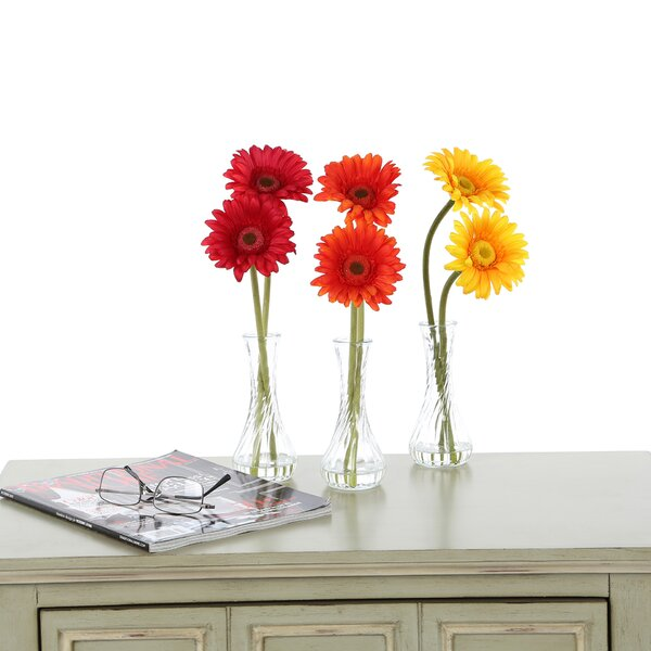 August Grove Daisy In Red Orange Yellow With Bud Vase Reviews