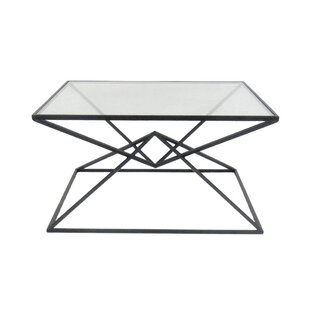 Carmon Metal Glass Top Coffee Table by Ivy Bronx