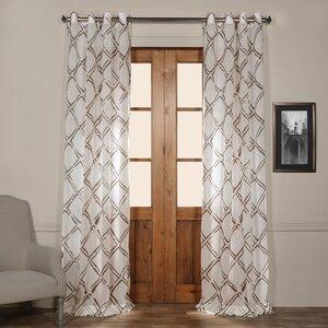 Romane Geometric Sheer Grommet Single Curtain Panel