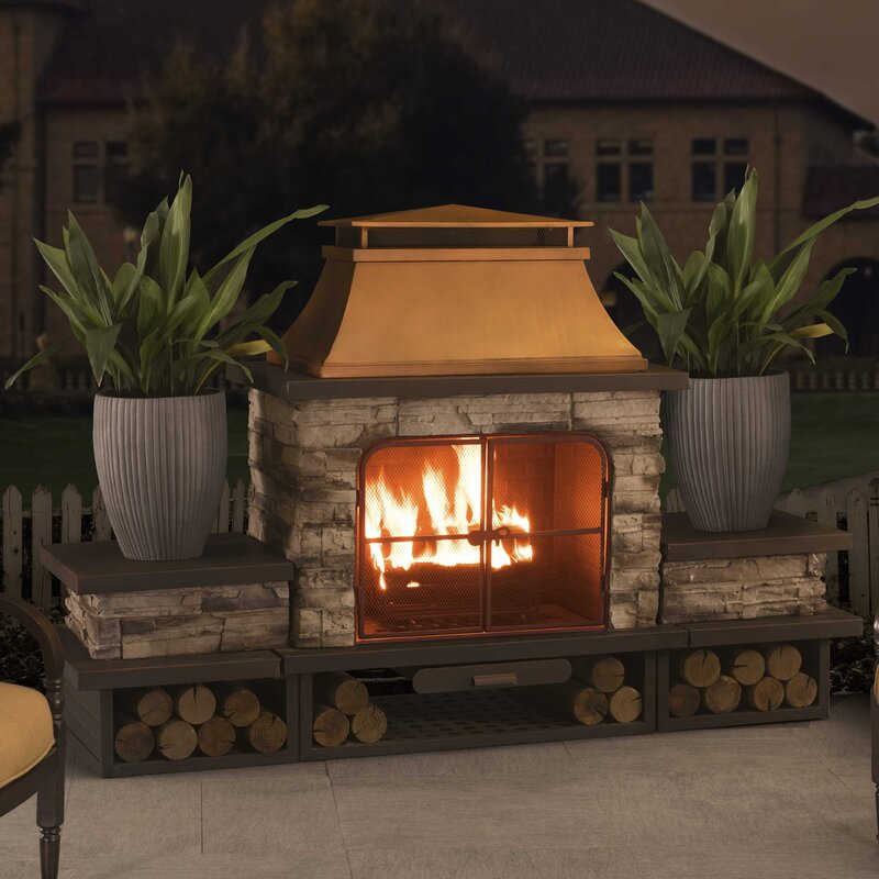 Sunjoy Connan Steel Wood Burning Outdoor Fireplace Wayfair