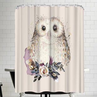 Grab My Art Boho Flower And Owl Single Shower Curtain