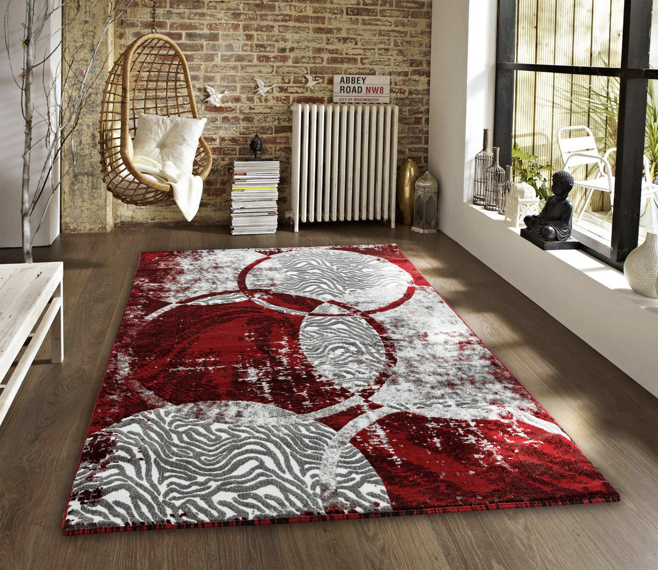 Ebern Designs Kimbrel Abstract Red Gray Area Rug Reviews Wayfair