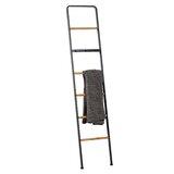 "Tall Black Metal Ladder With Wood Bars Plus 3-Hook Bar, 15"" X 72"""