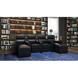 Top Grain Leather Home Theater Sofa (Row of 4) by Red Barrel Studio