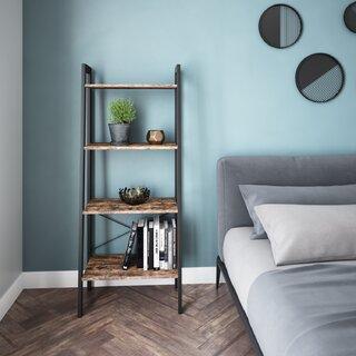 Industrial Bookshelf, 4-Tier Ladder Shelf With Metal Frame, Rustic Brown by Ballucci SKU:BB495552 Buy