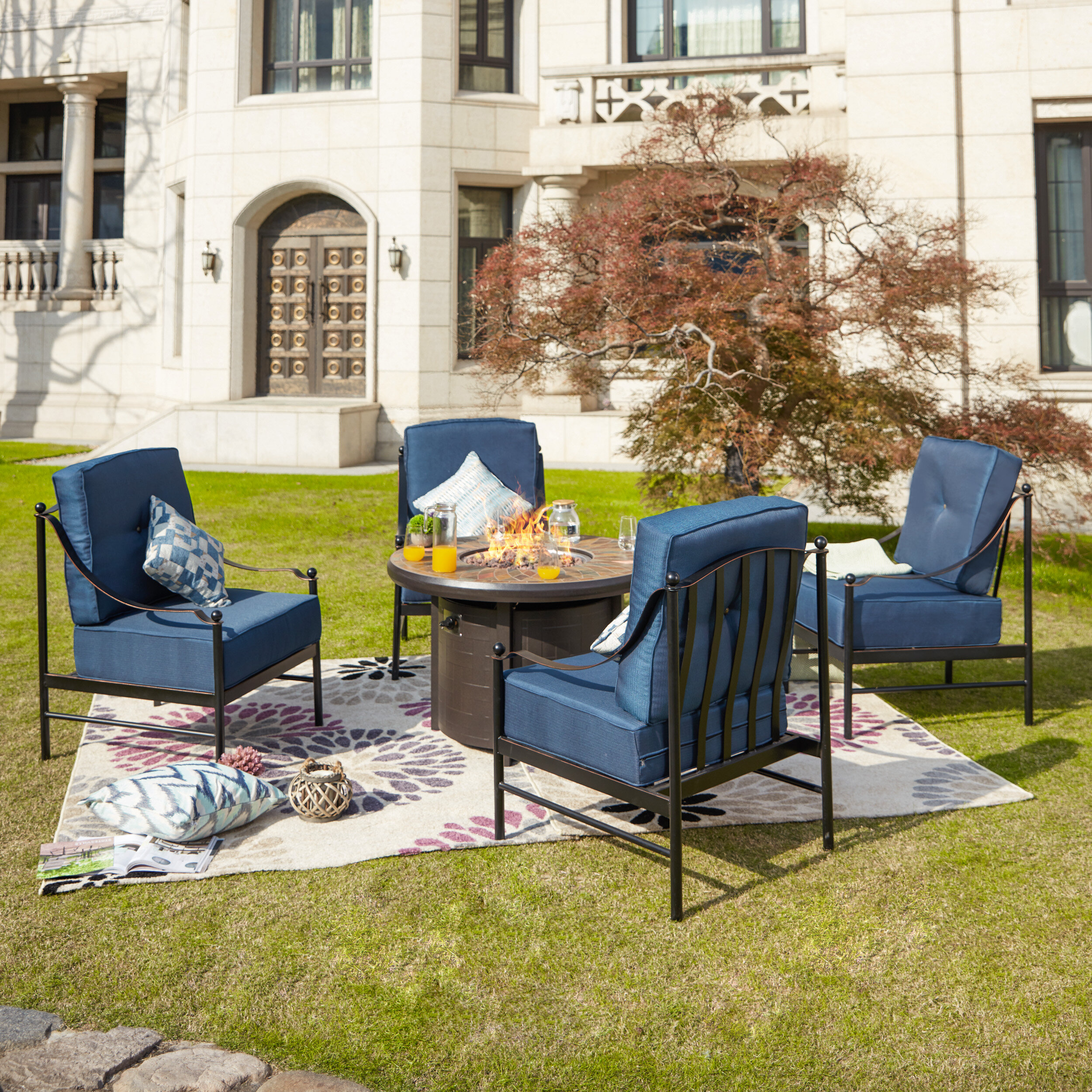Darby Home Co Bejou 5 Piece Multiple Chairs Seating Group With Cushions Wayfair