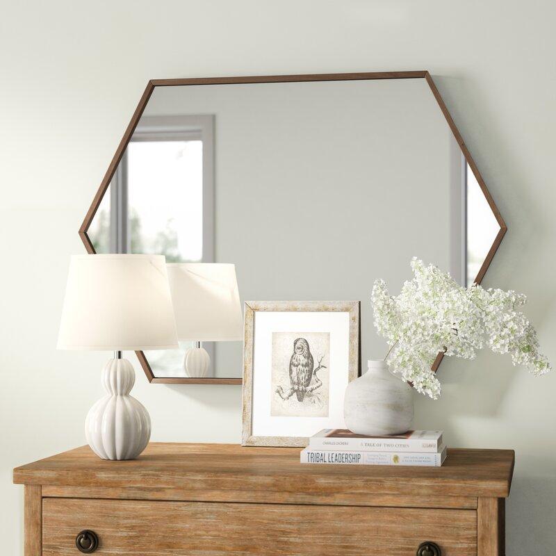 Walnut Brown Zaliki Mid Century Hexagon Accent Mirror by Gracie Oaks