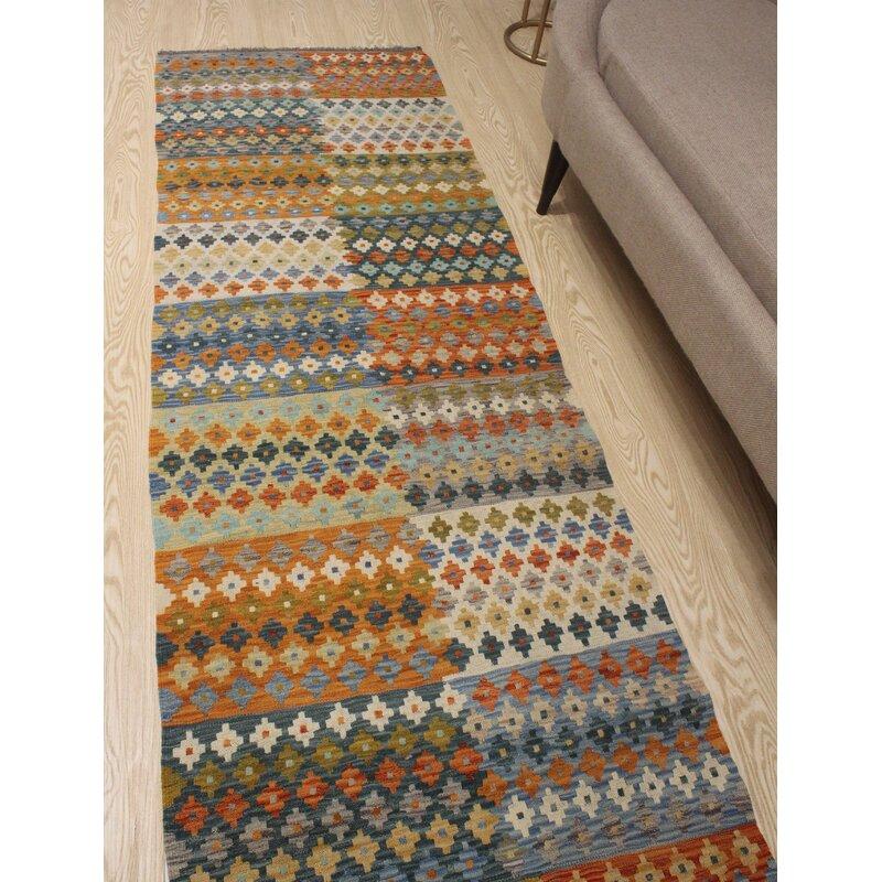 Foundry Select Runner Hults Southwestern Hand Woven Wool Orange Area Rug Wayfair