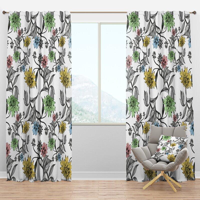 Designart Hand Drawn Summer Floral Semi Sheer Thermal Rod Pocket Curtain Panel Wayfair