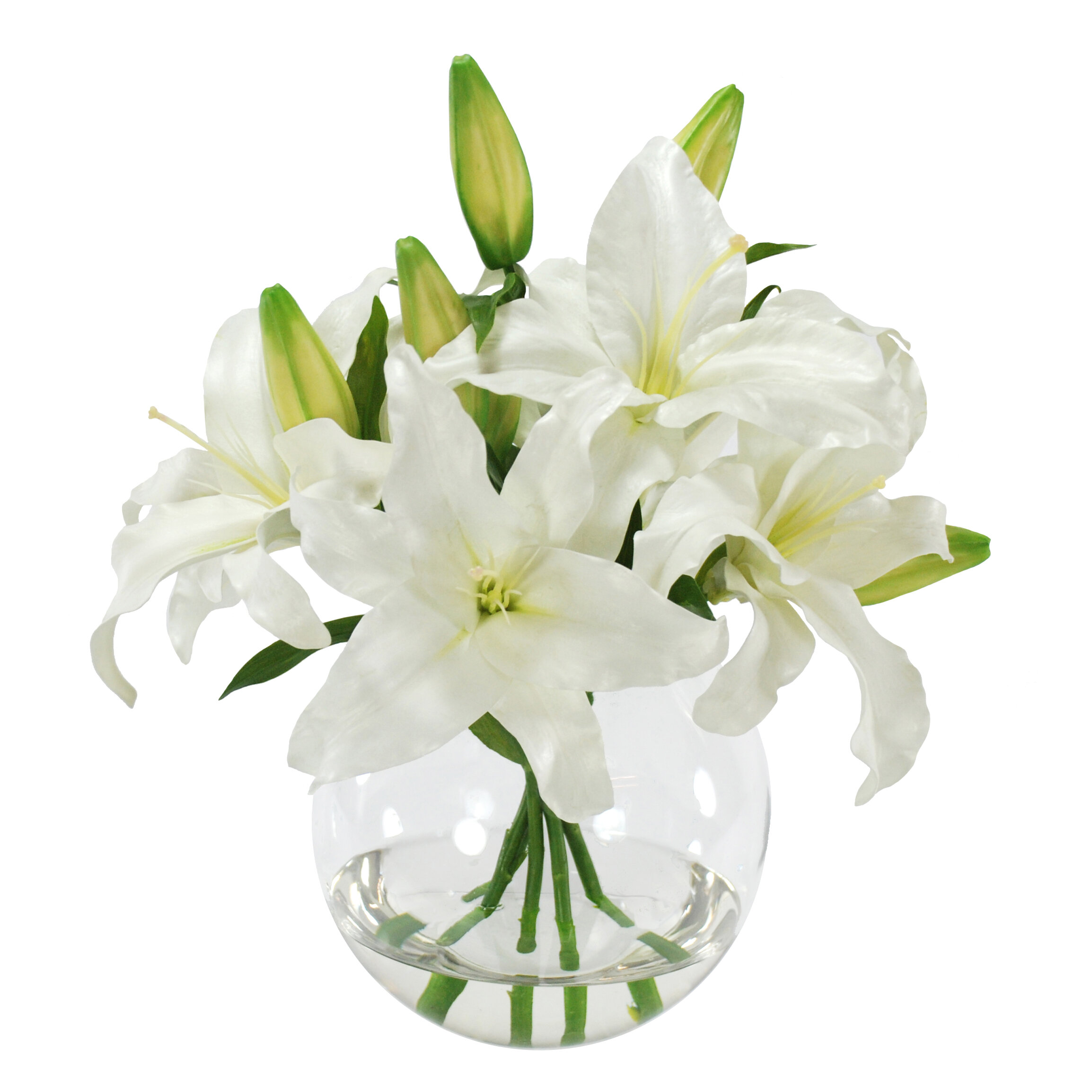 Lily Arrangement In Glass Vase Wayfair