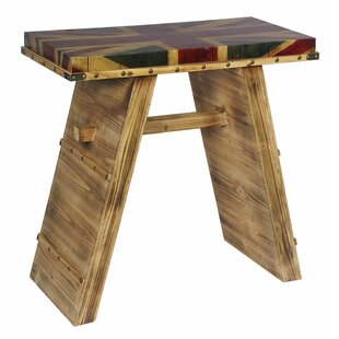 Whitchurch Union Jack Wooden Stool By Williston Forge