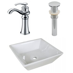 Inexpensive Ceramic Square Vessel Bathroom Sink with Faucet and Overflow ByAmerican Imaginations
