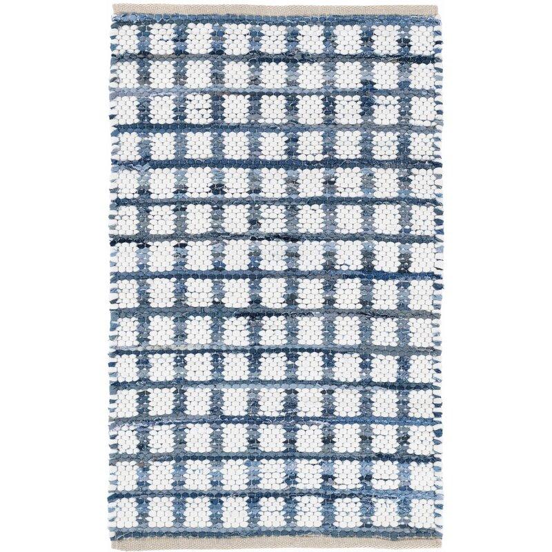 Dash And Albert Rugs Denim Rag Squares Plaid Hand Woven Flatweave Blue White Area Rug Reviews Wayfair