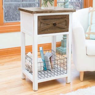 Farmhouse End Table with Storage by Gracie Oaks
